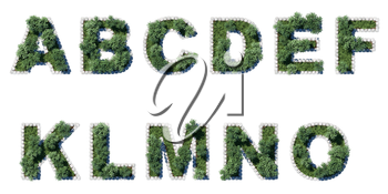 Green park font with grey cubing border. 11 letters