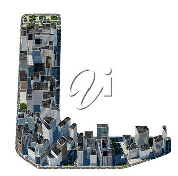 Urban L letter from city font collection. Extreme detail. Custom made and rendered
