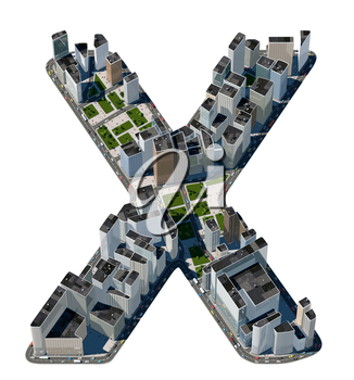 Urban X letter from city font collection. Extreme detail. Custom made and rendered