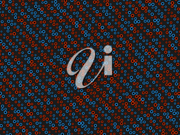 Polka dot pattern with red and blue circles on black. Large size