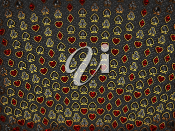 Diamond card suits symbols over stitched textile background. Leisure games