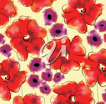 Adonis and gloxinia floral pattern. Large size
