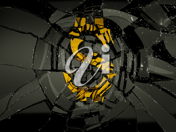 Glass and golden US dollar symbol shattered. Financial crisis