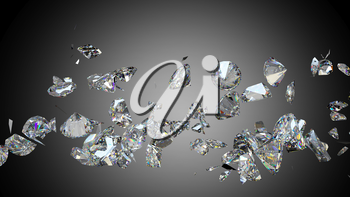Broken and shattered diamonds or gemstones high resolution