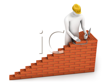 Royalty Free Clipart Image of a Bricklayer
