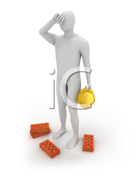 Royalty Free Clipart Image of a Man Holding a Hardhat With Bricks at His Feet