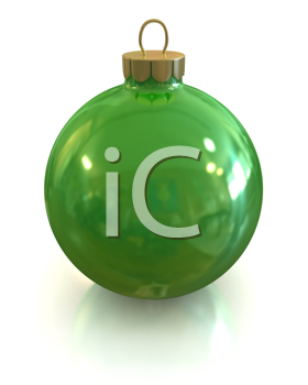 Royalty Free Clipart Image of a Green Christmas Ornament
