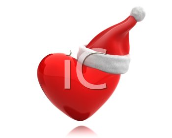 Royalty Free Clipart Image of a Santa Hat on a Heart