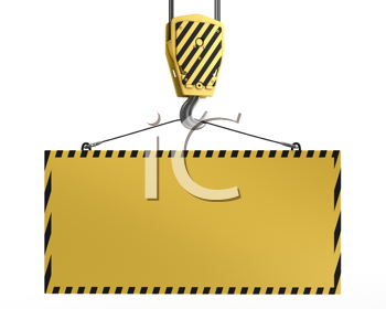 Royalty Free Clipart Image of a Crane Hook With a Blank Sign