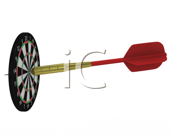 Royalty Free Clipart Image of a Big Dart and Small Dartboard