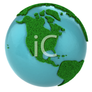 Royalty Free Clipart Image of a Globe With Grass and Water