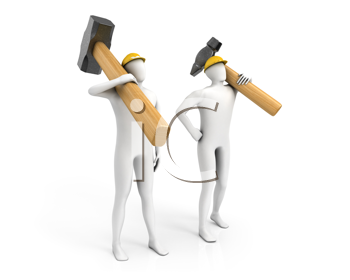Royalty Free Clipart Image of Two Men With Hammers