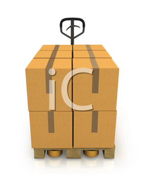 Royalty Free Clipart Image of Boxes on a Pallet