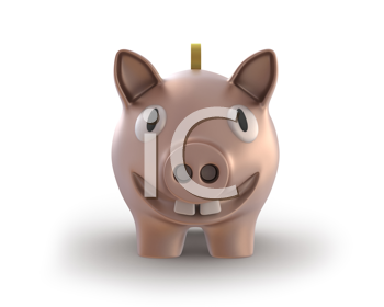 Royalty Free Clipart Image of a Smiling Piggy Bank