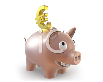 Royalty Free Clipart Image of a Piggy Bank With a Euro Symbol