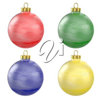 Four christmas balls isolated on white background