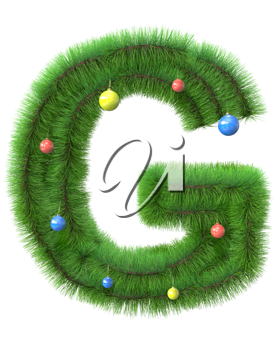 G letter made of christmas tree branches isolated on white background