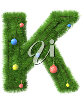 K letter made of christmas tree branches isolated on white background