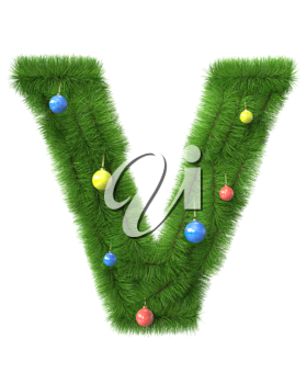 V letter made of christmas tree branches isolated on white background