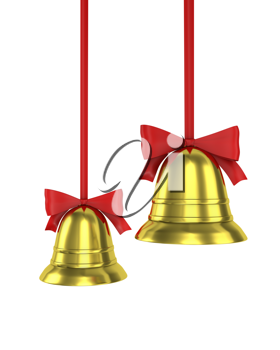 Two Christmas bells with red ribbons isolated on white background