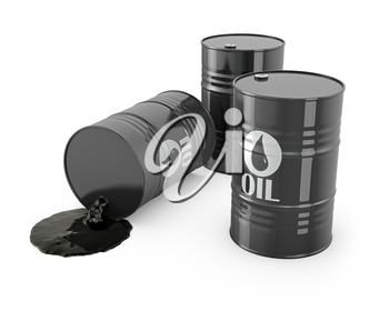 Three barrels and spilled oil, isolated on white background