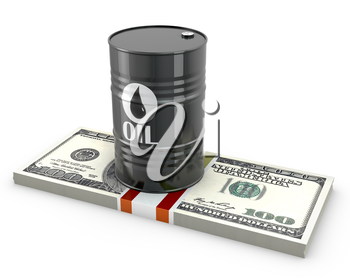 Barrel of oil on a pack of dollars, isolated on white background