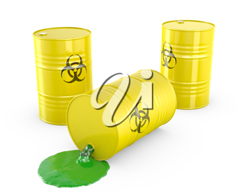 Toxic waste spilling from barrel, isolated on white background