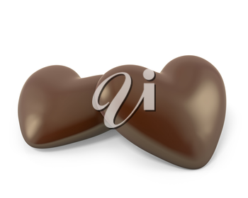 Pair of heart shaped chocolate candies isolated on white background
