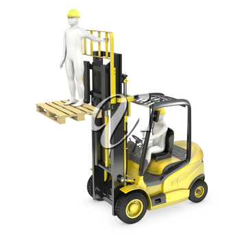 Abstract white man in a fork lift truck, lifting other worker on a fork, isolated on white background