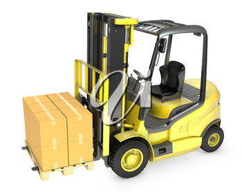 Yellow fork lift truck with stack of carton boxes, isolated on white background