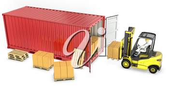 Yellow fork lift truck unloads red container, isolated on white background