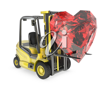 Fork lift truck lifts heart cut ruby, isolated on white background