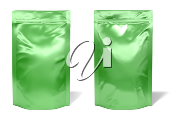 Green foil bag package isolated on white background