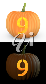 Number 9 carved on pumpkin jack lantern isolated on and white background