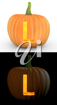 L letter carved on pumpkin jack lantern isolated on and white background