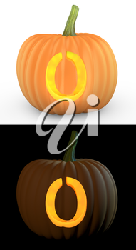 O letter carved on pumpkin jack lantern isolated on and white background