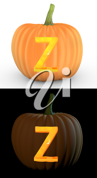 Z letter carved on pumpkin jack lantern isolated on and white background