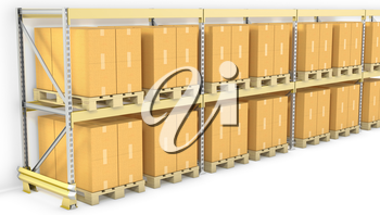 Row of pallet racks with boxes, isolated on white background