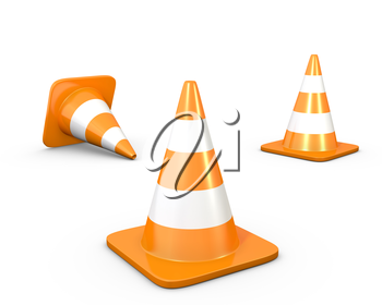Three road cones, isolated on white background