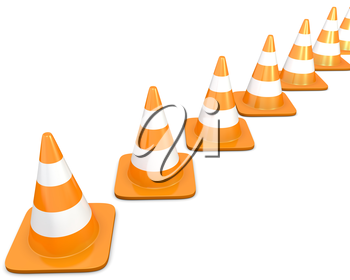 Diagonal line of traffic cones, isolated on white background