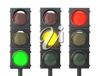 Set of traffic lights with red, yellow and green lights isolated on white background