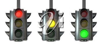 Set of traffic lights, red, green and yellow, isolated on white background