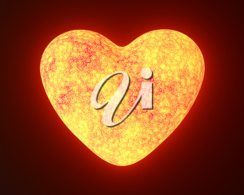 Red hot metal glowing heart isolated on black