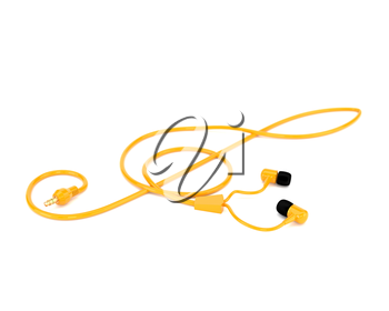 The music concept headphones with a yellow cable in the form of a treble clef isolated on white background. 3d illustration.