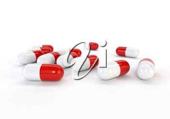 Set capsules isolated on white background. 3d illustration.