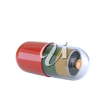 Capsule with an electric battery inside, isolated on white background. Concept tablets vitality and vigor. 3d illustration.