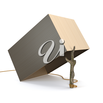 Traps from the box and branches isolated on white background. 3d illustration.