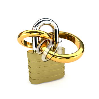 Golden wedding rings chained padlock isolated on white background. The concept of the family. 3d illustration.