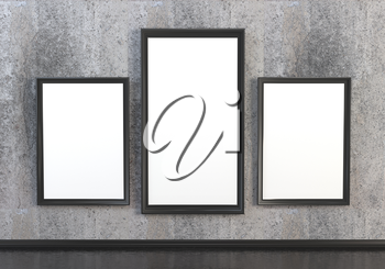 3D abstract interior illustrations. Stone with wooden empty wooden frame with white canvas
