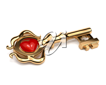 Shiny golden Key old style with a stone in the shape of a heart isolated on white background. Key to the heart. Vector illustration.